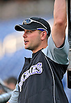 16 August 2008: Colorado Rockies' left fielder Matt Holliday prepares to take batting practice prior to facing the Washington Nationals at Nationals Park in Washington, DC.  The Rockies defeated the Nationals 13-6, handing the last place Nationals their 9th consecutive loss. ..Mandatory Photo Credit: Ed Wolfstein Photo