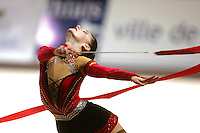 Stela Sultanova of Bulgaria turns with ribbon during All-Around competition at 2006 Thiais Grand Prix in Paris, France on March 25, 2006.  (Photo by Tom Theobald)