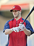 20 September 2012: Washington Nationals rookie outfielder Bryce Harper awaits his turn in the batting cage prior to a game against the Los Angeles Dodgers at Nationals Park in Washington, DC. The Nationals defeated the Dodgers 4-1, clinching a playoff birth: the first time for a Washington franchise since 1933. Mandatory Credit: Ed Wolfstein Photo