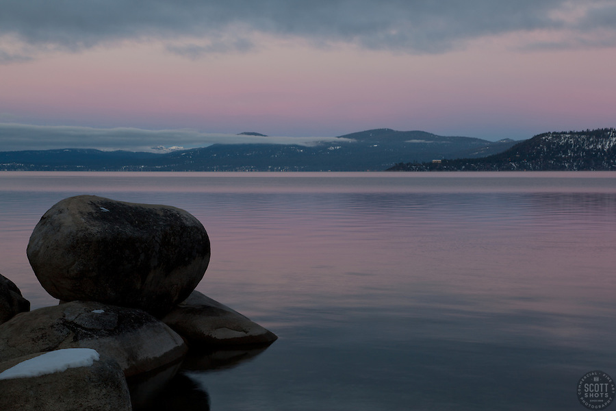 """Tahoe Boulders at Sunrise 17""- These boulders were photographed at sunrise near Memorial Point, Lake Tahoe."
