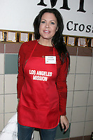 Christa Campbell at the LA Mission Thanksgivng Feeding of the Homeless in    Los Angeles, CA.November 26, 2008.©2008 Kathy Hutchins / Hutchins Photo....