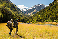 Trampers at Matukituki River at Pearl Flat, Mt. Aspiring National Park, Central Otago, World Heritage Area, South Island, New Zealand