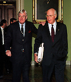 Washington, DC - January 14, 1999 -- United States Senators Daniel Patrick Moynihan (Democrat of New York), left,  and Patrick J. Leahy (Democrat of Vermont), right, walk to the U.S. Senate Chamber prior to the start of the U.S. House presentation in the Impeachment trial of U.S. President Bill Clinton on 14 January, 1999..Credit: Ron Sachs / CNP