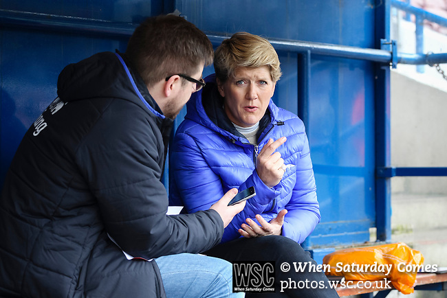 Liverpool Ladies 2 Everton Ladies 1, 19/03/2017. Select Security Stadium, SSE FA Cup Fifth Round. Clare Balding making a programme about Women's football at the game between Liverpool Ladies v Everton Ladies at The Select Security Stadium, Widnes, in the Women's SSE FA Cup Fifth Round. Photo by Paul Thompson.