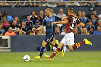Sporting Park, Kansas City, Kansas, July 31 2013:<br /> Marco Di Valo (9) forward MLS All-Stars ,  Leandro Castan (5) defender AS Roma.<br /> MLS All-Stars were defeated 3-1 by AS Roma at Sporting Park, Kansas City, KS in the 2013 AT &amp; T All-Star game.