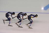 SCHAATSEN: CALGARY: Olympic Oval, 09-11-2013, Essent ISU World Cup, Team Pursuit Men, Seung-Hoon Lee, Hyong-jun Joo, Cheol-Min Kim (KOR), ©foto Martin de Jong