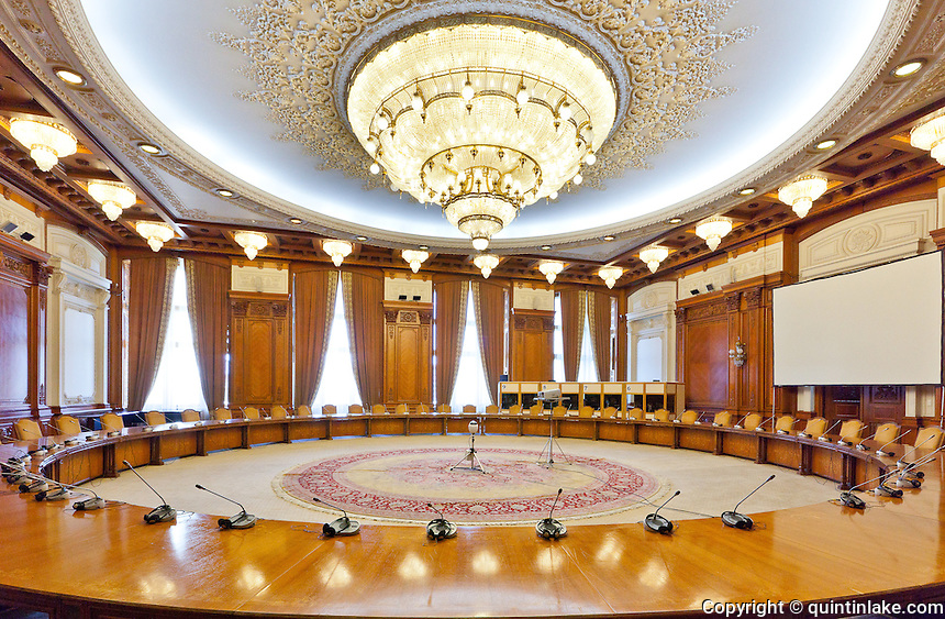 Human Rights Hall. Conference Room. The Palace of the Parliament (Also known as Ceausescu's Palace or House of The People) in Bucharest, Romania. Built 1983-1989. Architect: Anca Petrescu