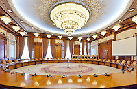 Human Rights Hall. Conference Room. The Palace of the Parliament (Also known as Ceausescu&rsquo;s Palace or House of The People) in Bucharest, Romania. Built 1983-1989. Architect: Anca Petrescu