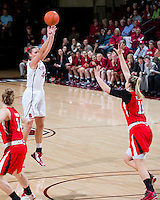 STANFORD, CA - January 25, 2013: Stanford Cardinal's Joslyn Tinkle scores her first 3-pointer of the night in Stanford's 65-44 victory over the Utah at Maples Pavilion in Stanford, California.