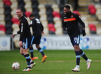Blackpool's Jamille Matt (right) and Tom Aldred during the pre-match warm-up <br /> <br /> Photographer Kevin Barnes/CameraSport<br /> <br /> The EFL Sky Bet League Two - Saturday 18th March 2017 - Newport County v Blackpool - Rodney Parade - Newport<br /> <br /> World Copyright &copy; 2017 CameraSport. All rights reserved. 43 Linden Ave. Countesthorpe. Leicester. England. LE8 5PG - Tel: +44 (0) 116 277 4147 - admin@camerasport.com - www.camerasport.com