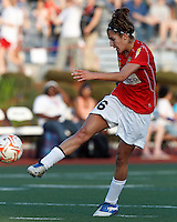 Western New York midfielder Angela Salem (6) scoring shot. In a Women's Premier Soccer League Elite (WPSL) match, the Boston Breakers defeated Western New York Flash, 3-2, at Dilboy Stadium on May 26, 2012.