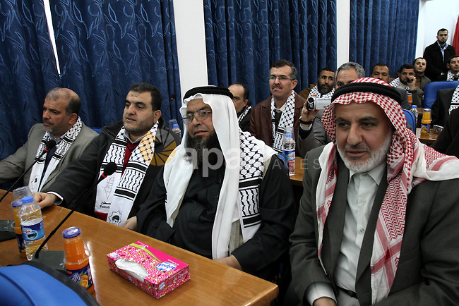 """Palestinian Legislative Council members of the mass of change and reform during meeting convoy of """"Miles of Smiles 8"""" at the parliament headquarters in Gaza city on Jan. 15, 2012. Photo by Mohammed Asad"""