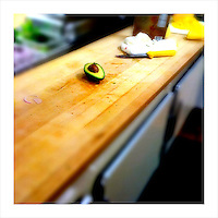 Half of an avocado sits on the counter of a Sonoma, CA deli. (iPhone image)