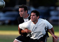 From left, Clint Garman of team B.V. United and Mark Garcia of team Jobrisa fights for control of the ball during a Adult Soccer League game at Camino Real Park in Ventura Calif., on Monday, Aug. 14, 2006. (Photo by Bryce Yukio Adolphson/Brooks Institute of Photography, &copy;2006)<br />