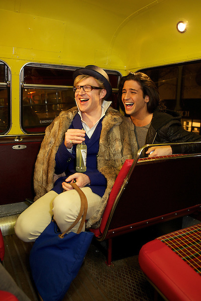 Henry Conway and Ollie Locke on the bus on the way to Maggie's nightclub in Chelsea