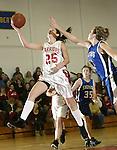 LITCHFIELD, CT, 01/03/08- 010308BZ11- Wamogo's Kellie Finn (25) goes to the hoop against Shepaug's Sam Steinmetz (41)  during their game at Wamogo High School in Litchfield Thursday night.<br /> Jamison C. Bazinet Republican-American