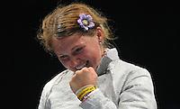 European Championships Fencing 2010 / Fecht Europameisterschaft 2010 in Leipzig - Competition Championat d'europe - im Bild: women sabre / Säbel - the new european champion Svetlana Kormilitsyna (RUS)  . Foto: Norman Rembarz..Norman Rembarz , Autorennummer 41043728 , Augustenstr. 2, 04317 Leipzig, Tel.: 01794887569, Hypovereinsbank: BLZ: 86020086, KN: 357889472, St.Nr.: 231/261/06432 - Jegliche kommerzielle Nutzung ist honorar- und mehrwertsteuerpflichtig! Persönlichkeitsrechte sind zu wahren. Es wird keine Haftung übernommen bei Verletzung von Rechten Dritter. Autoren-Nennung gem. §13 UrhGes. wird verlangt. Weitergabe an Dritte nur nach  vorheriger Absprache..