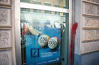 Roma 6 Settembre 2011.Manifestazione del sindacato  Usb con i comitati di base contro la manovra del governo Berlusconi..La  Deutsche Bank di largo Argentina colpita con le uova e vernice  dai manifestanti
