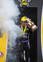 Sep 25, 2016; Madison, IL, USA; NHRA funny car driver Jack Beckman celebrates after winning the Midwest Nationals at Gateway Motorsports Park. Mandatory Credit: Mark J. Rebilas-USA TODAY Sports