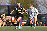 21 October 2012: Iowa's Ashley Catrell (8) and Northwestern's Jennifer Korn (37). The Northwestern University Wildcats played the University of Iowa Hawkeyes at Lakeside Field in Evanston, Illinois in a 2012 NCAA Division I Women's Soccer game. Northwestern won the game 1-0.