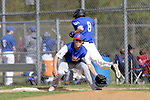 Burlington, CT- 15 May 2017-051517CM10-  Lewis Mills'  Owen Lacourciere beats out to the throw to Nonnewaug's  Evan Kachur during their Berkshire League matchup on Monday.    Christopher Massa Republican-American