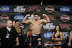 October 23, 2009; Los Angeles, CA; USA;  Champion Lyoto Machida weighs-in for his upcoming light heavyweight championship bout against challenger Mauricio Rua.  The two will meet tomorrow night in the headliner of UFC 104 at the Staples Center in Los Angeles, CA.