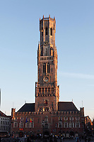 BRUGES, BELGIUM - FEBRUARY 06 : A general view of the 'Beffroi' (Belfort) at sunset on February 06, 2009 in Bruges, Western Flanders, Belgium. The 83m tall belfry was built in 1240 and listed by the UNESCO as World Heritage Site. (Photo by Manuel Cohen)