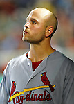 28 August 2010: St. Louis Cardinals outfielder Matt Holliday in the dugout during a game against the Washington Nationals at Nationals Park in Washington, DC. The Nationals defeated the Cards 14-5 to take the third game of their 4-game series. Mandatory Credit: Ed Wolfstein Photo