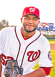 28 February 2016: Washington Nationals relief pitcher Yusmeiro Petit poses for his Spring Training Photo-Day portrait at Space Coast Stadium in Viera, Florida. Mandatory Credit: Ed Wolfstein Photo *** RAW (NEF) Image File Available ***