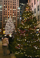 New York City, December 2003.  (Photo by Brian Cleary/www.bcpix.com) Christmas tree, Rockefeller Center,