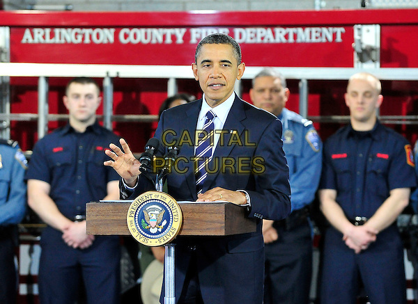 United States President Barack Obama makes remarks on the economy at Fire Station #5 in Arlington, Virginia on Friday, February 3, 2012. .half length politics american speaking blue suit tie .CAP/ADM/CNP/RS.©Ron Sachs/CNP/AdMedia/Capital Pictures.