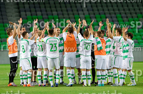 Players of Olimpija celebrate after the football match between NK Olimpija Ljubljana (SLO) and NK Siroki Brijeg (BiH) of First Qualifying Round of UEFA Europa league 2011/2012, on July 7, 2011, in SRC Stozice, Ljubljana, Slovenia. Olimpija defeated Siroki Brijeg 3-0 and qualified to next Round. (Photo by Vid Ponikvar / Sportida)