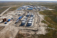 Bovanenkovo ,Yamal Peninsula, Russia, 10/07/2010..An aerial view of facilities under construction on the Gazprom Yamal Bovanenkovo gasfield project.