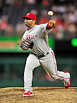 28 September 2010: Philadelphia Phillies' pitcher J.C. Romero on the mound against the Washington Nationals at Nationals Park in Washington, DC. The Nationals defeated the Phillies 2-1 on an Adam Dunn walk-off solo homer in the 9th inning to even up their 3-game series one game apiece. Mandatory Credit: Ed Wolfstein Photo