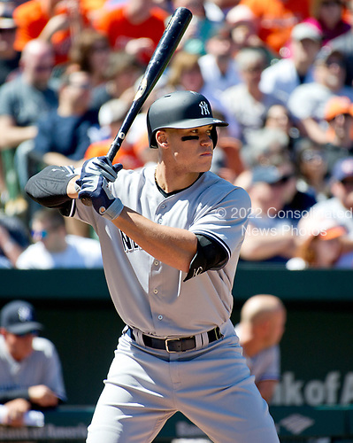 New York Yankees right fielder Aaron Judge (99) bandin the second inning against the Baltimore Orioles at Oriole Park at Camden Yards in Baltimore, MD on Sunday, April 9, 2017.<br /> Credit: Ron Sachs / CNP<br /> (RESTRICTION: NO New York or New Jersey Newspapers or newspapers within a 75 mile radius of New York City)