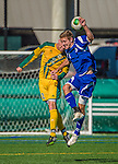 28 September 2013: Hartwick College Hawk Midfielder Tim Crawford, a Senior from Webster, NY, goes up against Defenseman Luke Salmon, a Junior from Newcastle, England, of the University of Vermont Catamounts at Virtue Field in Burlington, Vermont. The Catamounts shut out the visiting Hawks 1-0. Mandatory Credit: Ed Wolfstein Photo *** RAW (NEF) Image File Available ***