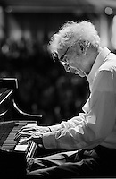 Dave Brubeck performing on the WWOZ stage in the Jazz Tent at the 1999 New Orleans Jazz and Heritage Festival in New Orleans, Louisiana. USA.