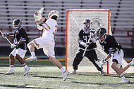 College Park, MD - February 18, 2017: Maryland Terrapins Timothy Monahan (33)  scores a goal during game between High Point and Maryland at  Capital One Field at Maryland Stadium in College Park, MD.  (Photo by Elliott Brown/Media Images International)