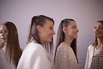 Models for the Brazilian brand, Colcci, line-up backstage at São Paulo Fashion Week for Summer Season 2013/2014, at Bienal, in Ibirapuera Park, São Paulo, Brazil, on Thursday, March 21, 2013.