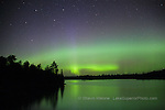 aurora borealis northern lights in the upper peninsula of michigan, lake reflections, Jan 2006 cover, Lake Superior Magazine