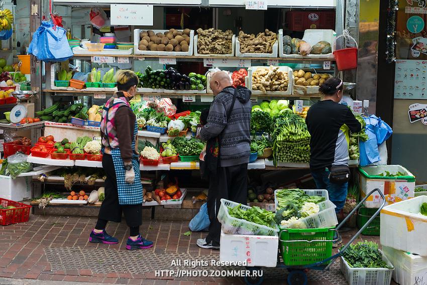 Hong Kong open air market vegetables shop