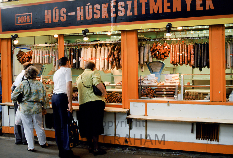 Butcher's shop selling Hungarian sausage and salami, Budapest, Hungary
