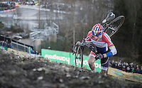 Mathieu Van der Poel (NED/Beobank-Corendon) climbing the infamous 'wall' on the course<br /> <br /> 2016 CX Superprestige Spa-Francorchamps (BEL)