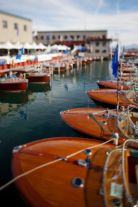 """Toy Boats at the Concours d'Elegance 2"" - Photograph of classic wooden boats from the 2011 Tahoe Concours d'Elegance.  The toy boat effect was achieved using a tilt-shift lens."