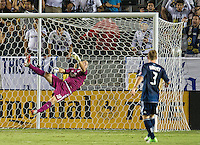 CARSON, CA - September 1, 2012:  Vancouver goalie Brad Knighton (18) during the LA Galaxy vs the Vancouver Whitecaps FC at the Home Depot Center in Carson, California. Final score LA Galaxy 1, Vancouver Whitecaps FC 0.