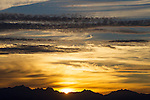 Sunset over the Olympic mountains area in Washington's Olympic National Park. The Olympic Mountains is a year-round destination. In summer, visitors come for views of the Olympic Mountains, as well as for superb hiking.  Jim Bryant Photo. ©2015. All Rights Reserved.