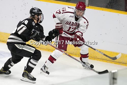 Kasper Björkqvist (PC - 20), Sean Malone (Harvard - 17) - The Harvard University Crimson defeated the Providence College Friars 3-0 in their NCAA East regional semi-final on Friday, March 24, 2017, at Dunkin' Donuts Center in Providence, Rhode Island.