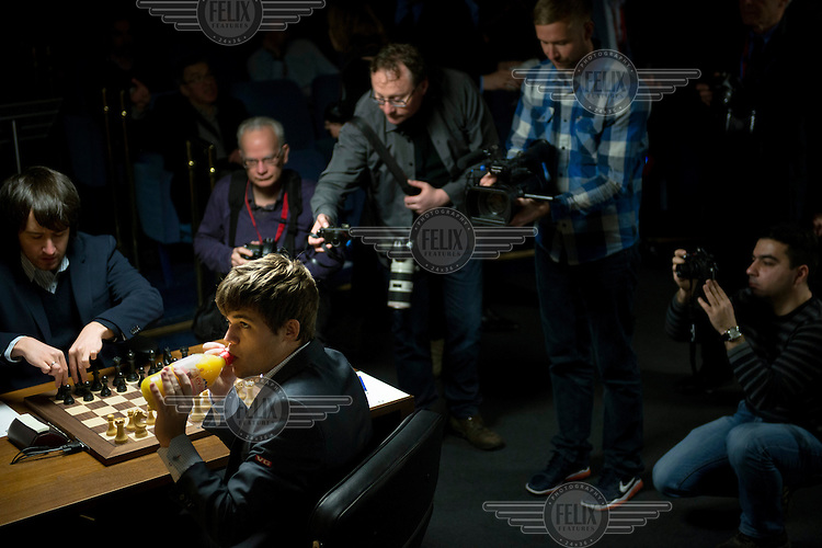 Magnus Carlsen plays Radjabov Teimourat the World Chess Championships in London. At 13 years of age Carlsen became the youngest, at that time, chess grandmaster. On 1 January 2010, aged 19, he became the youngest ever world number one, according to the World Chess Federation (FIDE) rankings. /Felix Features