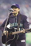 Death Cab for Cutie's Benjamin Gibbard  performs before the Seattle Mariners vs. Oakland Athletics in the opening home game of the season against the Oakland Athletics at SAFECO Field in Seattle April 12, 2010. The Athletics beat the Mariners 4-0. Jim Bryant Photo. &copy;2010. ALL RIGHTS RESERVED.