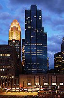 View of several buildings in downtown Minneapolis after dusk